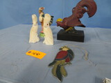 MISC. LOT OF ROOSTER & BIRD FIGURINES
