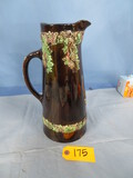 BROWN PITCHER W/ GRAPE ACCENTS