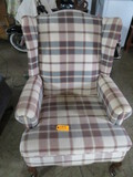 PLAID UPHOLSTERED WING BACK CHAIR
