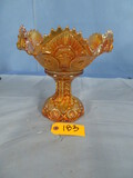 2 PC. CARNIVAL GLASS BOWL ON STAND  9