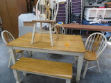 FARMHOUSE KITCHEN TABLE W/ 4 CHAIRS AND ONE BENCH