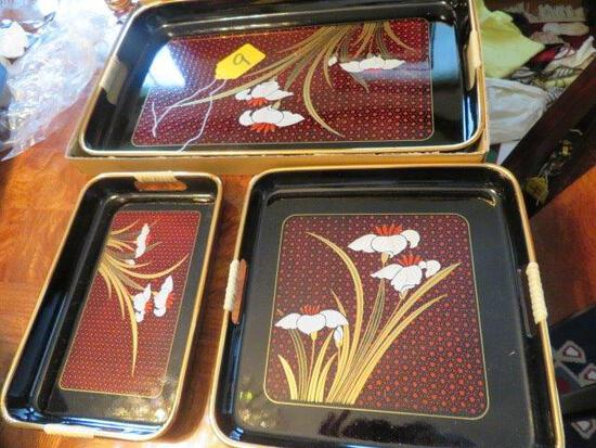 3 PCS. LACQUERED ORIENTAL TRAYS