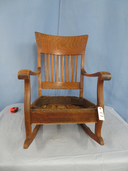 ANTIQUE OAK ROCKER W/ NO SEAT
