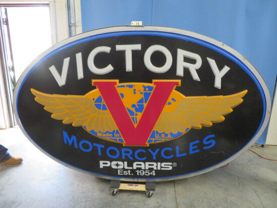 "LARGE VICTORY POLARIS MOTORCYCLE LIGHTED SIGN- 1 SIDED AND HARD WIRED  59""T X 97"" W"