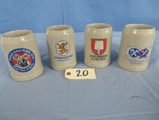 4 GERMAN BEER STEINS