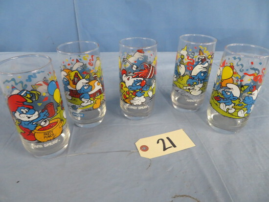 5 SMURF CARTOON GLASSES FROM 1983