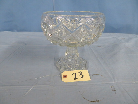 "CUT GLASS PEDESTAL PC  8""T"