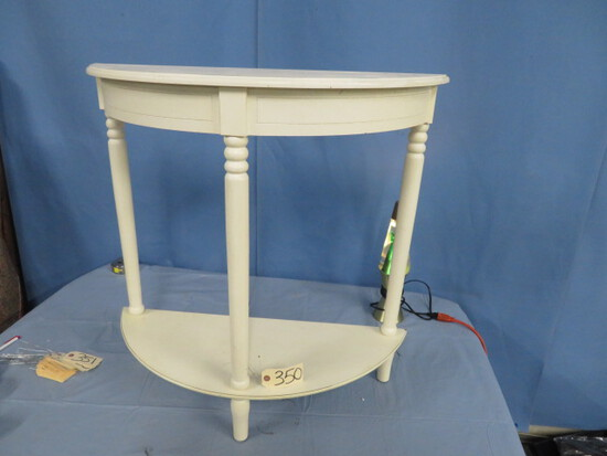"WHITE HALF MOON TABLE  32"" T"