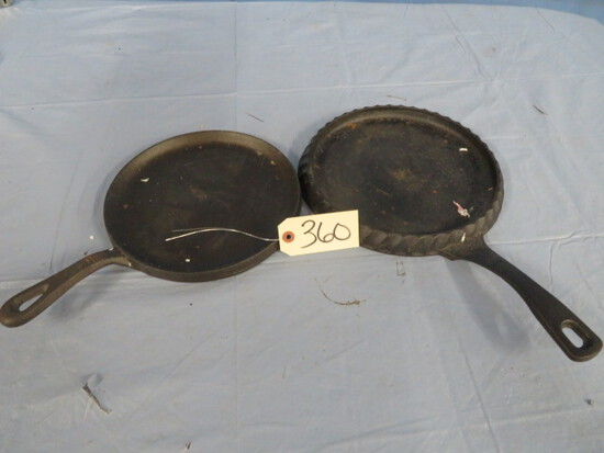 "2 CAST IRON 9"" SKILLETS, ONE IS PAULA DEENE, OTHER NOT MARKED"