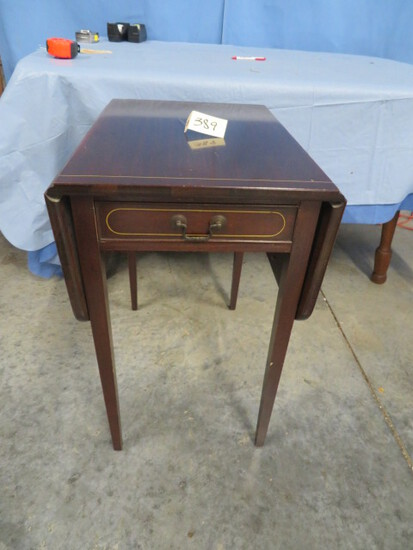 """MAHOGANY DROP LEAF END TABLE BY BRANDT FURNITURE  17 X 24- LEAVES MEASURE 11"""" W"""