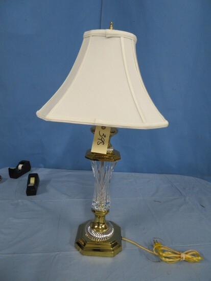 WATERFORD GLASS AND BRASS TABLE LAMP 30 T