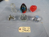 6 GLASS PAPER WEIGHTS
