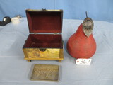 JEWELRY BOX , WINE CHARMS, POTTERY PEAR