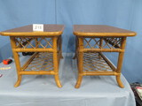 2 BAMBOO END TABLES  30 X 18