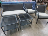 5 PC. OUTDOOR PATIO FURNITURE- SOFA HAS SOME DAMAGE ON BACK - SEE PHOTO