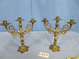 PAIR OF BRASS & GLASS CANDLE STICKS  14