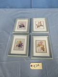 4 FLORAL PRINTS IN SHABBY FRAMES  9 X 7
