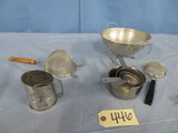 MISC. LOT , SIFTER, COLLANDER, MEASURING CUPS