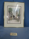 FRAMED AND SIGNED WATERCOLOR OF ST. PHILLIPS CHURCH IN CHARLESTON, SC  16 X 20