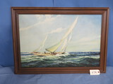 FRAMED ARTWORK OF SAILBOAT