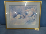 FRAMED AND SIGNED BEACH PRINT BY SADIE PAYNE DAVES  28/1500  SIZE 24 X 30