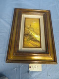 SIGNED CANVAS OF LIGHT HOUSE IN GOLD FRAME  21 X 15