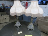 2 CRYSTAL AND CAST METAL  LAMPS