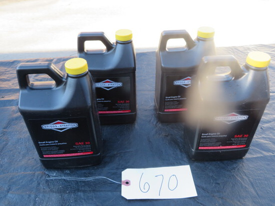4- 48 OZ. CONTAINERS SAE 30 BRIGGS & STRATTON SMALL ENGINE MOTOR OIL