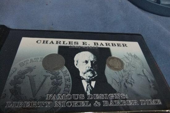 CHARLES BARBER 1906 NICKEL, 1911 DIME