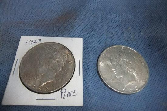 2- 1923 PEACE DOLLARS