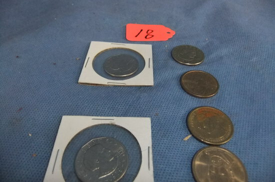 6- ONE DOLLAR COINS  3- ANTHONY & 3- OTHERS