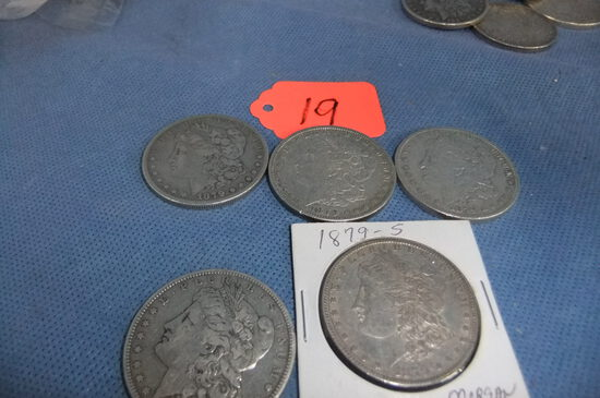 5- 1879 MORGAN SILVER DOLLARS - ONE IS 1879S