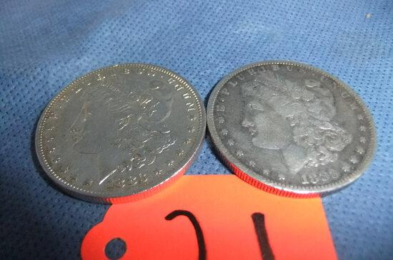 2-  1883 MORGAN SILVER DOLLARS