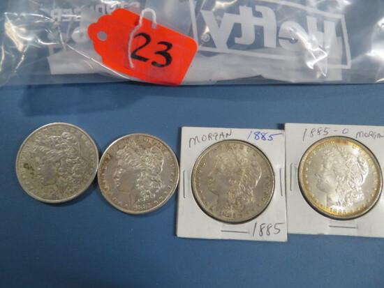 4 MORGAN SILVER DOLLARS 1885