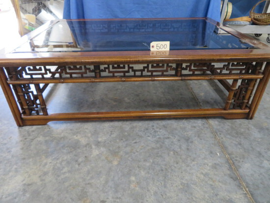 ORIENTAL STYLE GLASS TOP COFFEE TABLE  57 X 40
