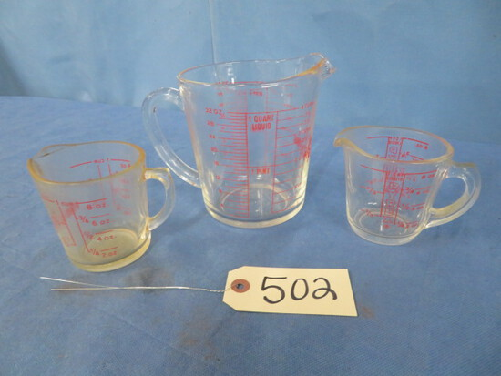 3 FIRE KING MEASURING CUPS  2 @ 1 CUP & 1 @ 4 CUP