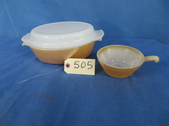 2 PCS. FIRE KING PEACH LUSTER DISHES