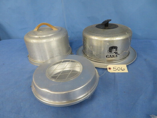 3 PCS. 1950'S METAL CAKE & PIE CONTAINERS