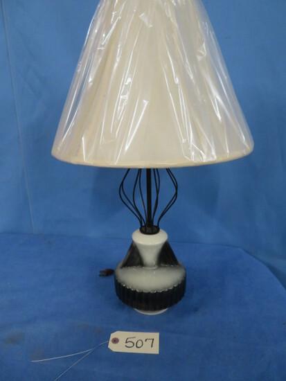 UNUSUAL 1950'S LAMP- METAL & CERAMIC BASE W/ NEW SHADE