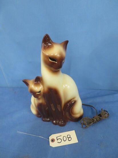 "VINTAGE LIGHT UP CAT LAMP  13""  T"