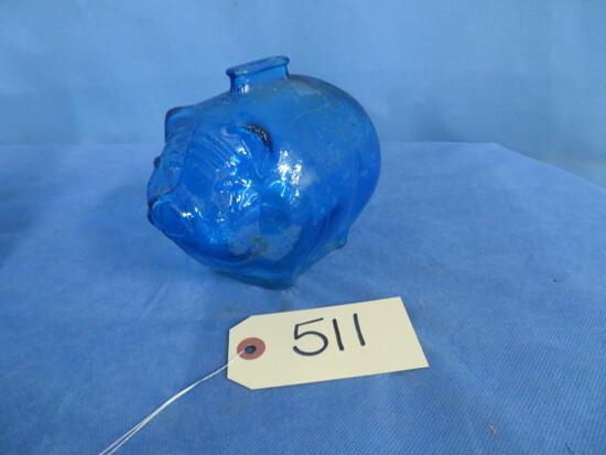 BLUE GLASS PIGGY BANK