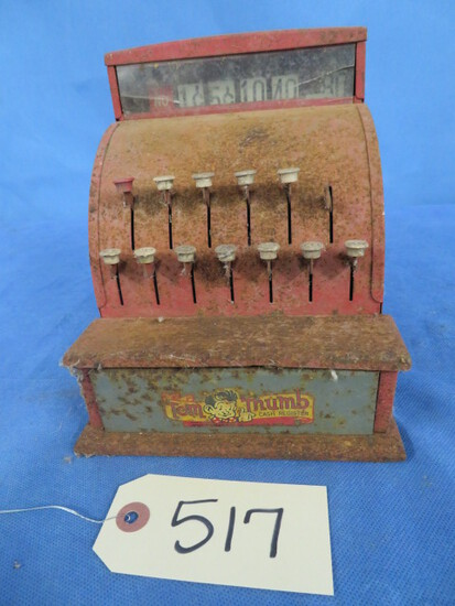 VINTAGE TOM THUMB CASH REGISTER- PLASTIC CRACKED AT TOP- SEE PIC