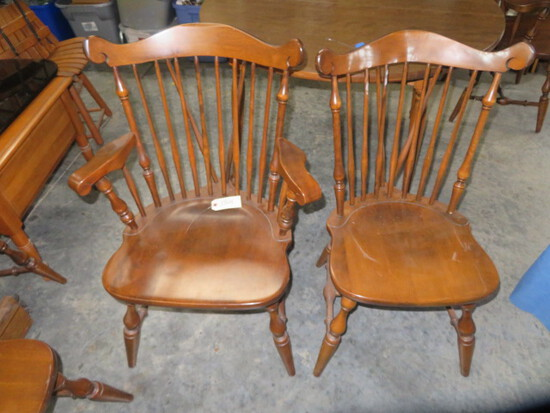 6 WINDSOR DINING CHAIRS- HAS 2 CAPTAINS CHAIRS