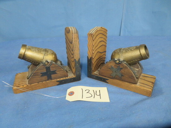 PAIR OF  CANNON BOOKENDS