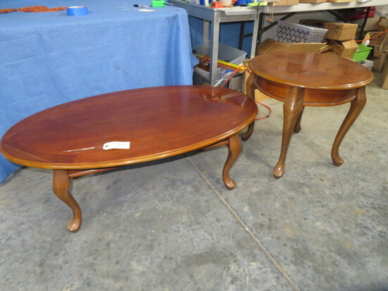 COFFEE TABLE & SIDE  TABLE W/ QUEEN ANNE LEGS