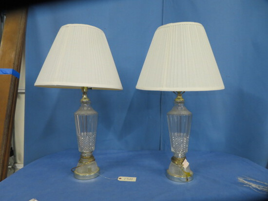 "PAIR OF GLASS LAMPS  32"" T"