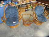 3 PCS. BAMBOO CHAIRS & GLASS TOP TABLE