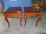 2 END TABLES W/ QUEEN ANNE LEGS