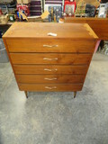 MID CENTURY LANE CHEST OF DRAWERS W/ DOVE TAIL INLAY  STAMPED- 38 X 18