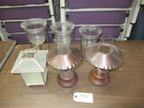3 DECANTERS PCS, LAMPS, CANDLE GLOBE